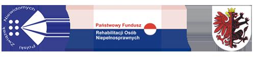 Baner z logo PZN, PFRON oraz logo Urzędu Marszałkowskiego Województwa Kujawsko-Pomorskiego
